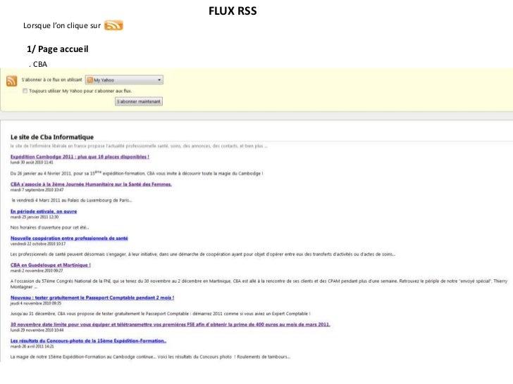 FLUX RSSLorsque l'on clique sur1/ Page accueil . CBA