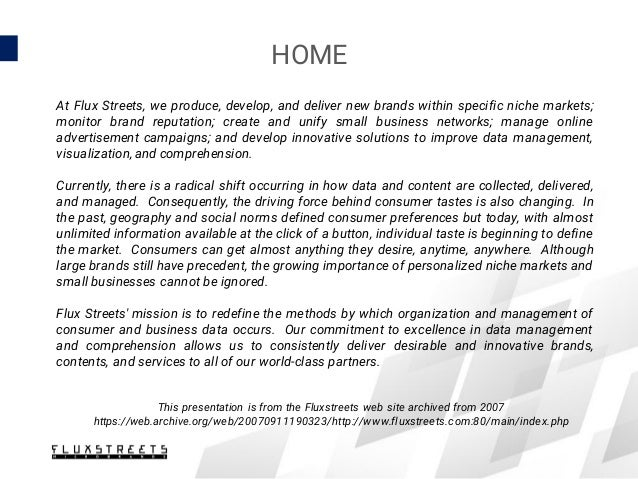 HOME At Flux Streets, we produce, develop, and deliver new brands within specific niche markets; monitor brand reputation;...