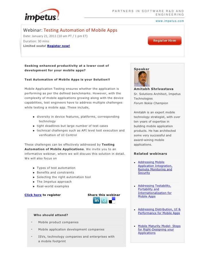 PARTNERS IN SOFTWARE R&D AND ENGINEERINGwww.impetus.com<br />Webinar:Testing Automation of Mobile AppsDate: January 21, 2...