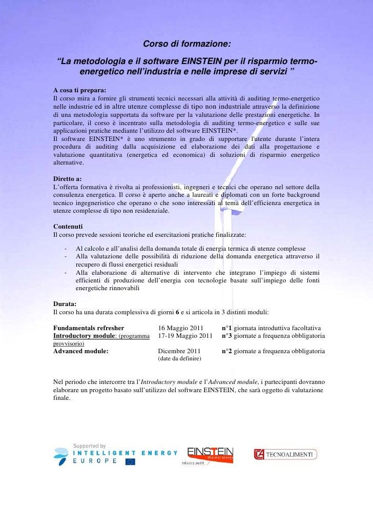 """Corso di formazione: """"La metodologia e il software EINSTEIN per il risparmio termo-      energetico nell'industria e nelle..."""