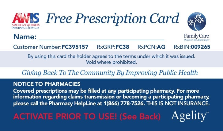free prescription cardnamecustomer numberfc395157 rxgrpfc38 rxpcnag - Free Prescription Card