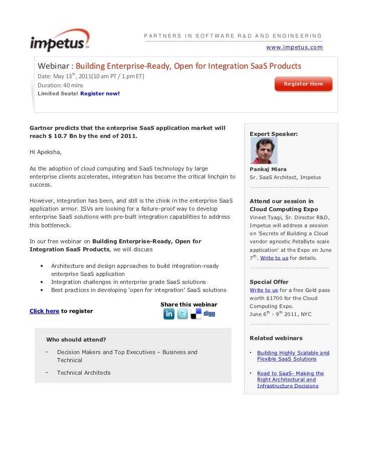 PARTNERS IN SOFTWARE R&D AND ENGINEERINGwww.impetus.com<br />Webinar : Building Enterprise-Ready, Open for Integration Saa...
