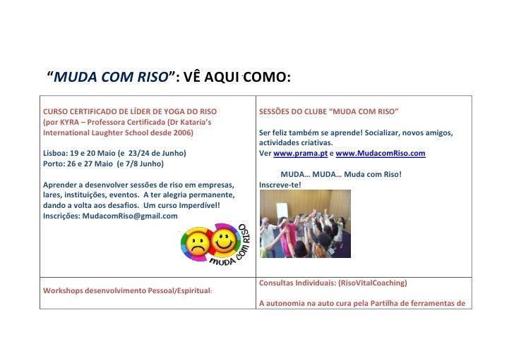 """""""MUDA COM RISO"""": VÊ AQUI COMO:CURSO CERTIFICADO DE LÍDER DE YOGA DO RISO                SESSÕES DO CLUBE """"MUDA COM RISO""""(p..."""