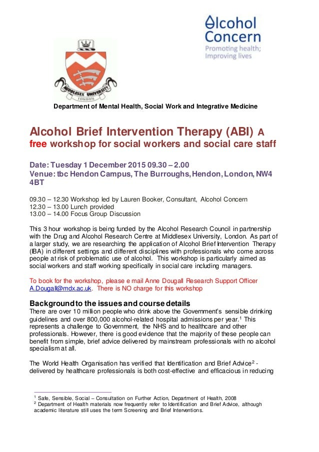 research flyer for iba workshop and focus group department of mental health social work and integrative medicine alcohol brief intervention therapy abi