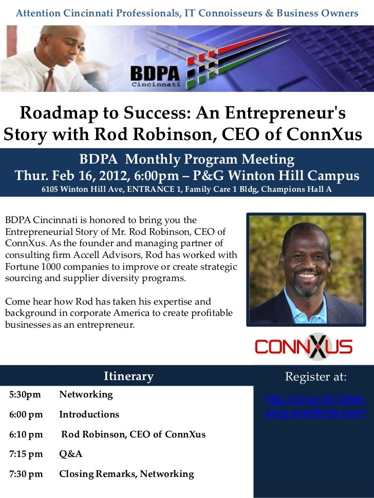 Attention Cincinnati Professionals, IT Connoisseurs & Business Owners  Roadmap to Success: An EntrepreneursStory with Rod ...