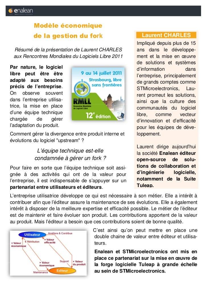 Modèle économique           de la gestion du fork                                Laurent CHARLES                          ...