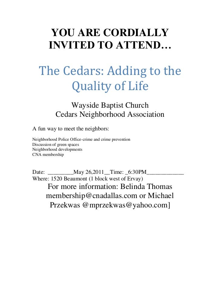 YOU ARE CORDIALLY INVITED TO ATTEND…<br />The Cedars: Adding to the Quality of Life<br />Wayside Baptist Church<br />Cedar...