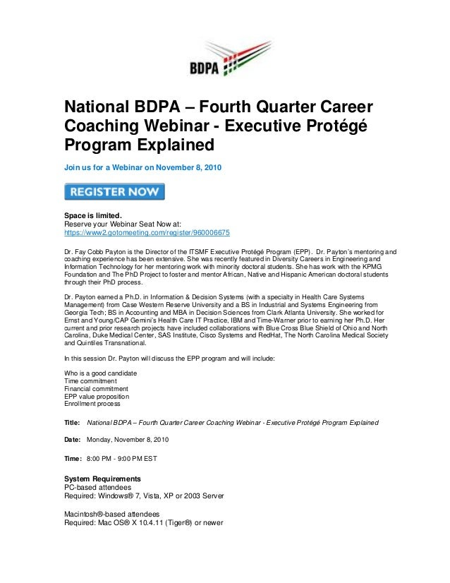 National BDPA – Fourth Quarter Career Coaching Webinar - Executive Protégé Program Explained Join us for a Webinar on Nove...