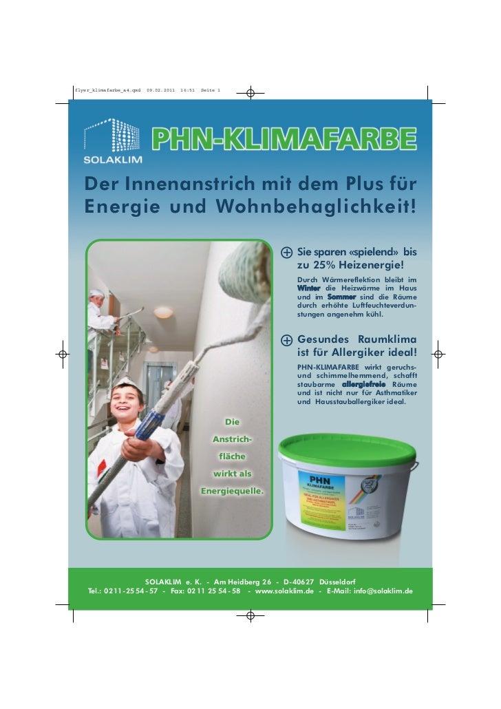 flyer_klimafarbe_a4.qxd   09.02.2011   16:51   Seite 1   Der Innenanstrich mit dem Plus für   Energie und Wohnbehaglichkei...
