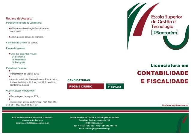 Flyer Licenciatura em Contabilidade e Fiscalidade ESGTS 2013
