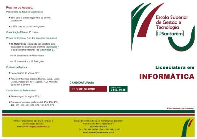 Flyer Licenciatura em Informatica ESGTS 2013