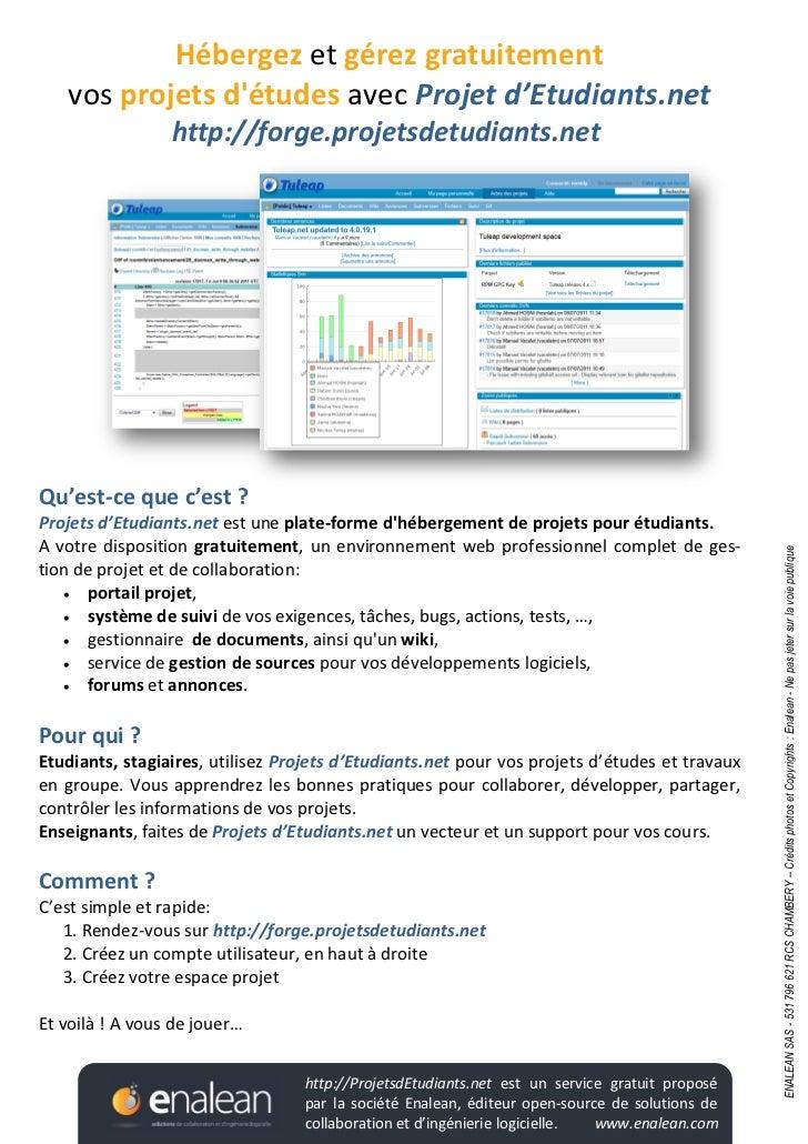 Hébergez et gérez gratuitement   vos projets détudes avec Projet d'Etudiants.net                 http://forge.projetsdetud...