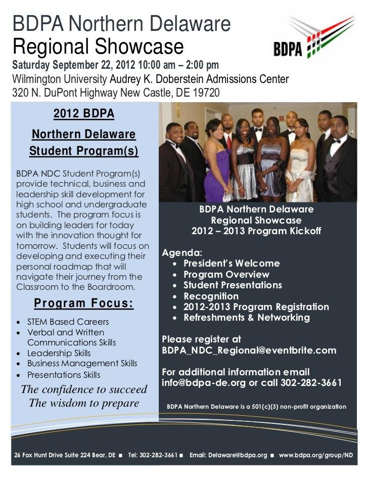 BDPA Northern DelawareRegional ShowcaseSaturday September 22, 2012 10:00 am – 2:00 pmWilmington University Audrey K. Dober...
