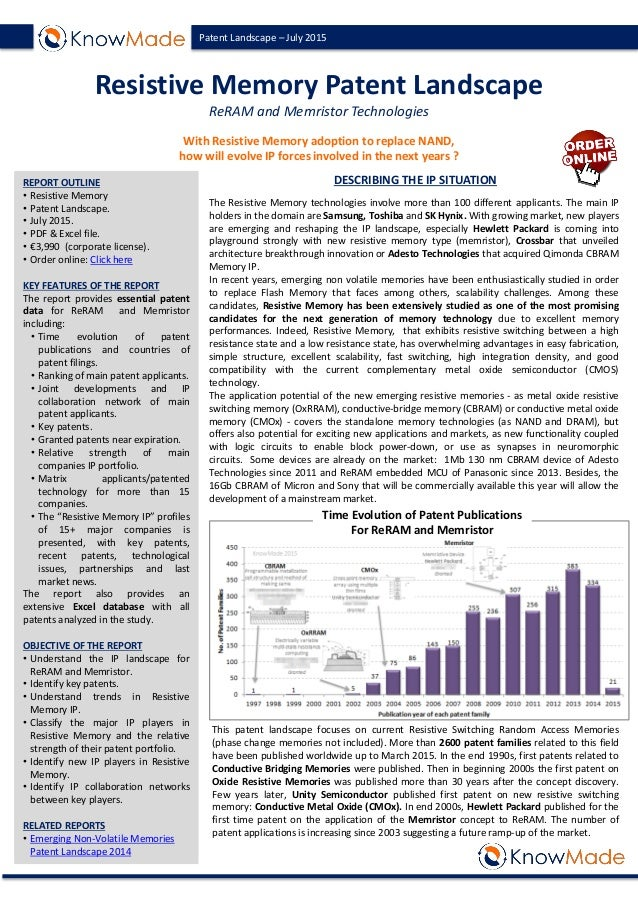 Patent Landscape – July 2015 Resistive Memory Patent Landscape ReRAM and Memristor Technologies With Resistive Memory adop...