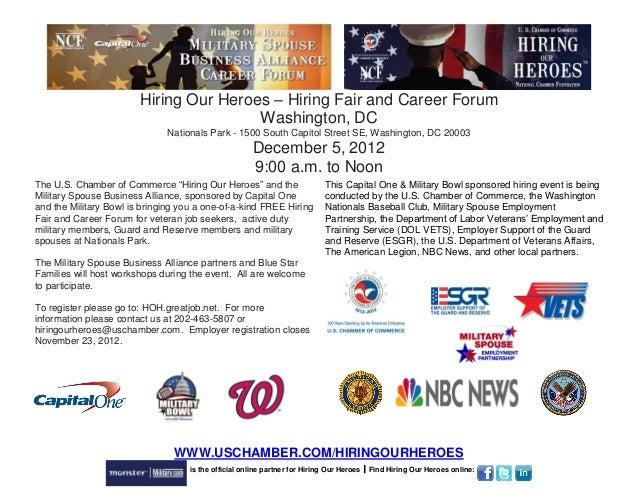 Hiring Our Heroes – Hiring Fair and Career Forum                                        Washington, DC                    ...