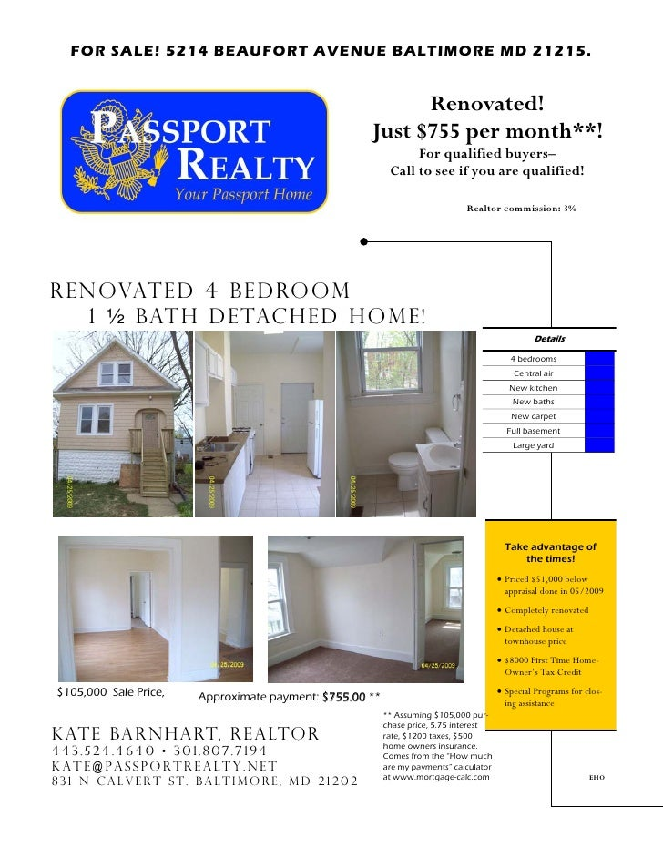 FOR SALE! 5214 BEAUFORT AVENUE BALTIMORE MD 21215.                                                             Renovated! ...