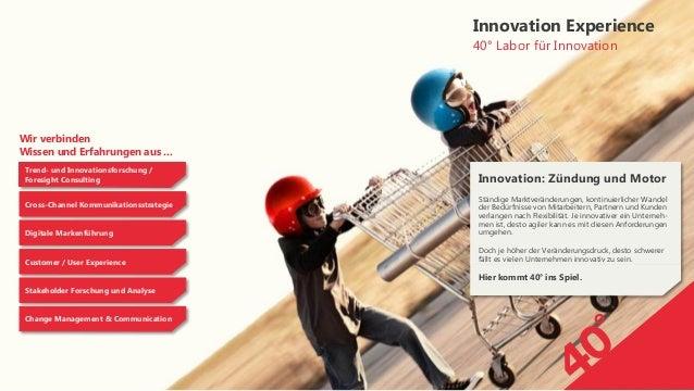 Wir verbindenWissen und Erfahrungen aus ...40° Labor für InnovationInnovation ExperienceTrend- und Innovationsforschung /F...