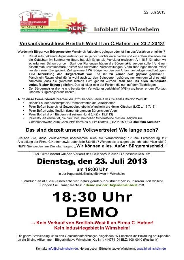Verkaufsbeschluss Breitloh West II an C.Hafner am 23.7.2013! Werden wir Bürger von Bürgermeister Weisbrich fortlaufend bel...
