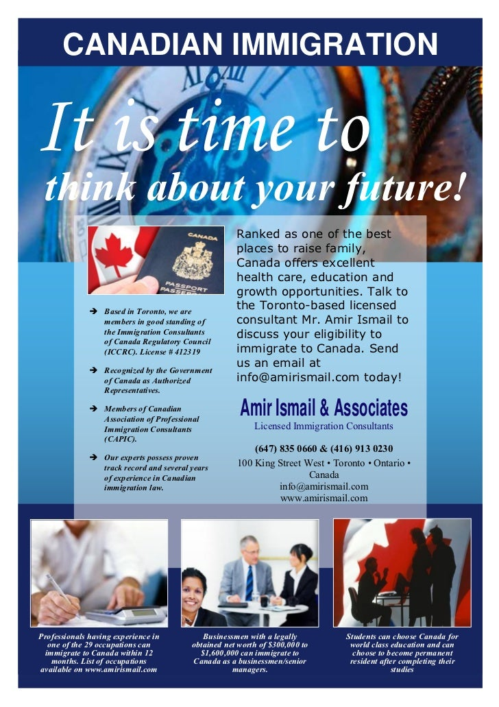 CANADIAN IMMIGRATIONIt is time to think about your future!                                                     Ranked as o...