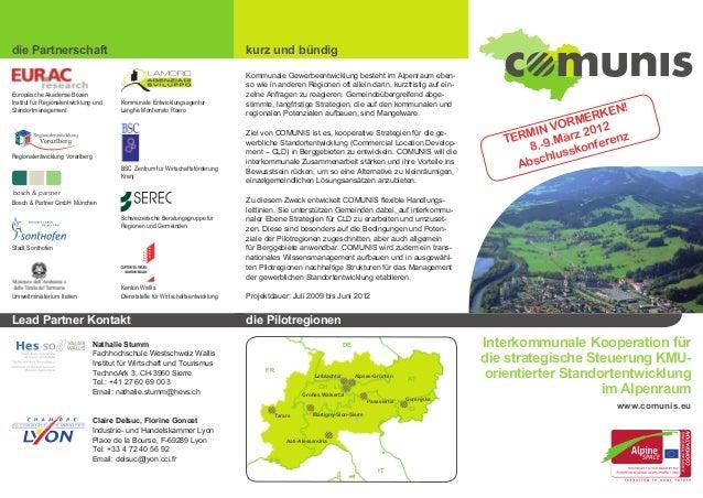 die Partnerschaft kurz und bündig Interkommunale Kooperation für die strategische Steuerung KMU- orientierter Standortentw...