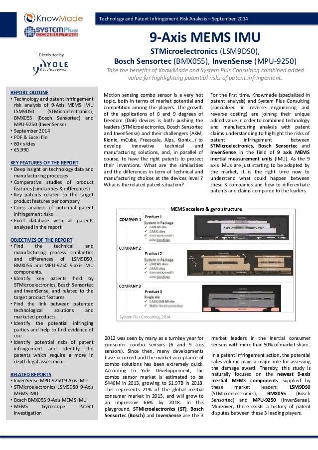 Technology and Patent Infringement Risk Analysis – September 2014  9-Axis MEMS IMU STMicroelectronics (LSM9DS0), Bosch Sen...