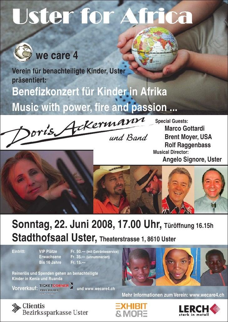 Uster for Africa             we care 4 Verein für benachteiligte Kinder, Uster präsentiert: Benefizkonzert für Kinder in A...
