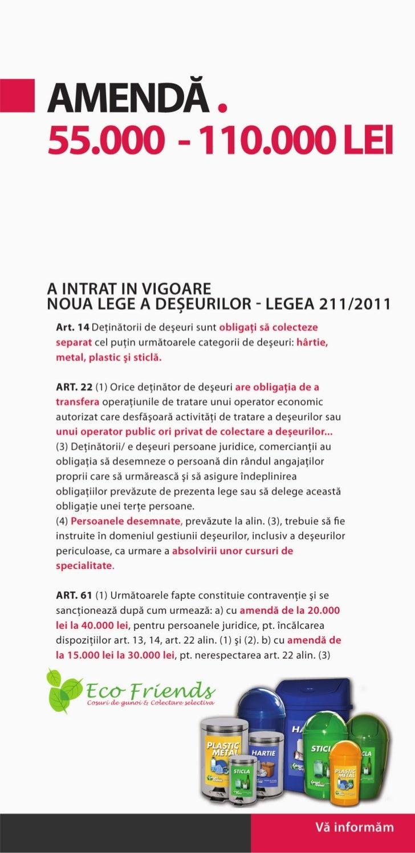 Amenda Legea 211 privind regimul deseurilor