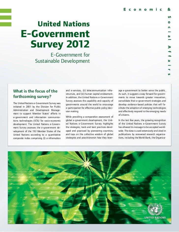 United Nations      E-Government        Survey 2012                           E-Government for                    Sustaina...