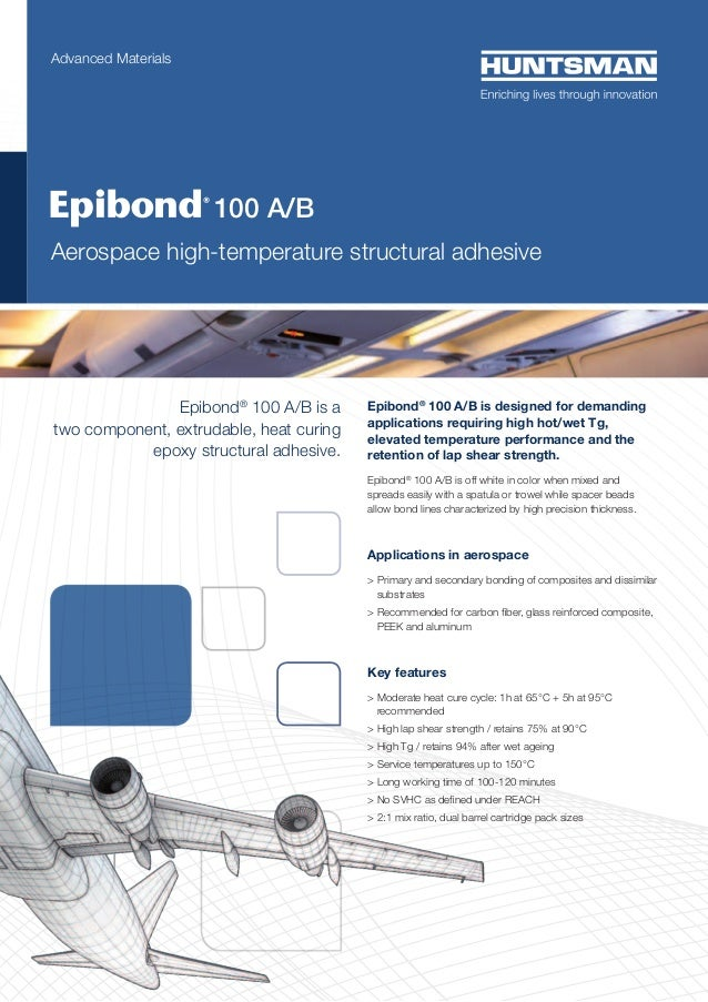 Advanced Materials  	   100  A/B  Aerospace high-temperature structural adhesive  Epibond® 100 A/B is a two component, ext...