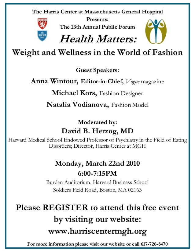 The Harris Center at Massachusetts General Hospital Presents: The 13th Annual Public Forum  Health Matters: Weight and Wel...
