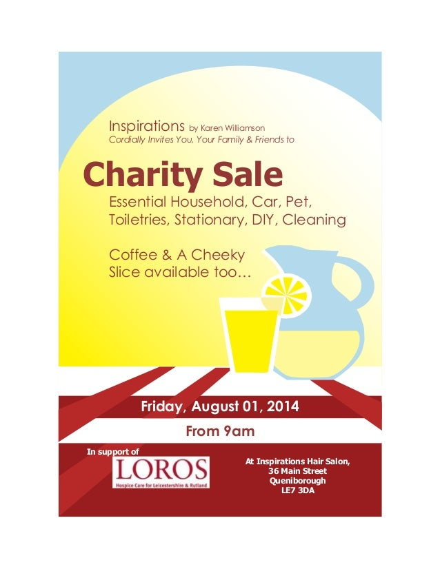 Inspirations by Karen Williamson Cordially Invites You, Your Family & Friends to Charity Sale Essential Household, Car, Pe...