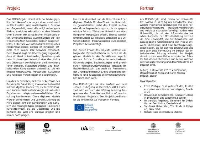 Das IERS-Projekt nimmt sich der bildungspo-litischen  Herausforderungen eines zunehmend  multikulturellen und multireligiö...