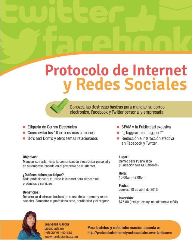 Protocolo de Internet                                y Redes Sociales                                     Conozca las dest...
