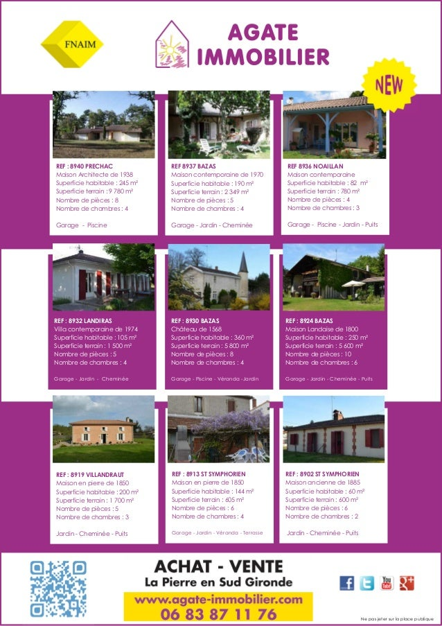 REF : 8940 PRECHAC Maison Architecte de 1938 Superficie habitable : 245 m² Superficie terrain : 9 780 m² Nombre de pièces ...