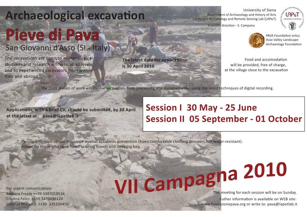 University of Siena Archaeological excava on                                                                              ...