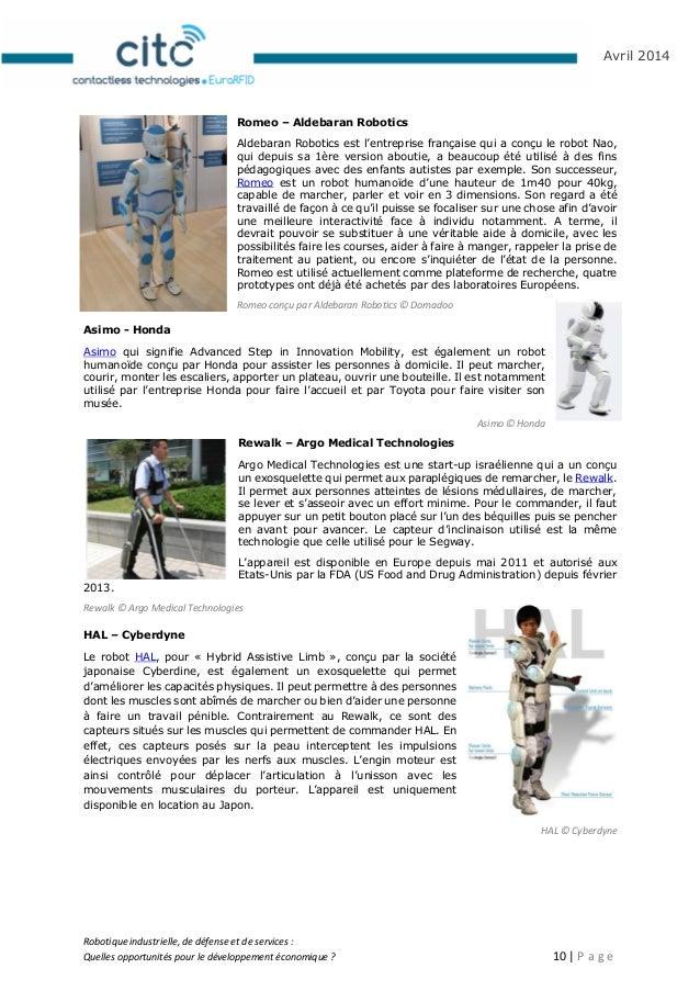Robotique industrielle, de défense et de services : Quelles opportunités pour le développement économique ? 11   P a g e A...