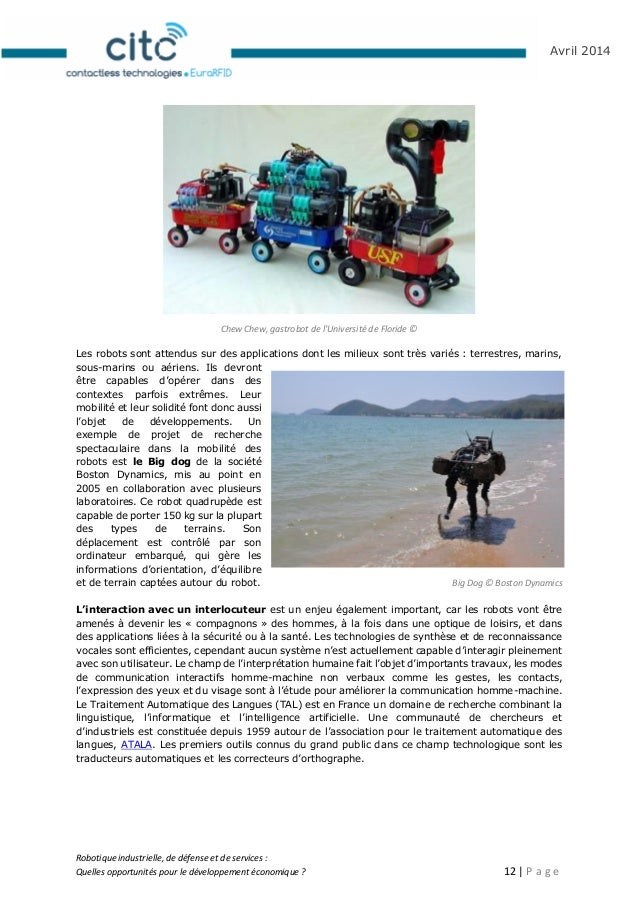 Robotique industrielle, de défense et de services : Quelles opportunités pour le développement économique ? 13   P a g e A...