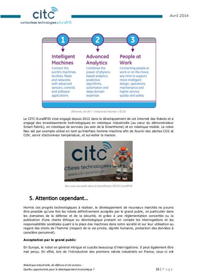 Robotique industrielle, de défense et de services : Quelles opportunités pour le développement économique ? 17   P a g e A...