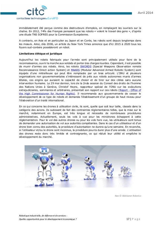 Robotique industrielle, de défense et de services : Quelles opportunités pour le développement économique ? 18   P a g e A...