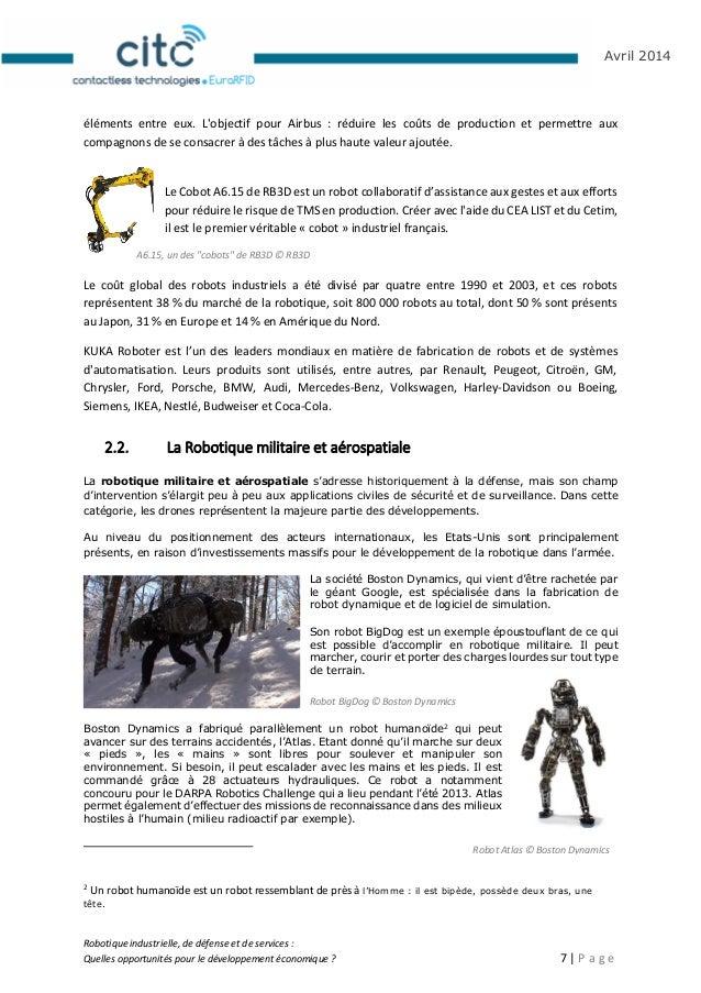 Robotique industrielle, de défense et de services : Quelles opportunités pour le développement économique ? 8   P a g e Av...