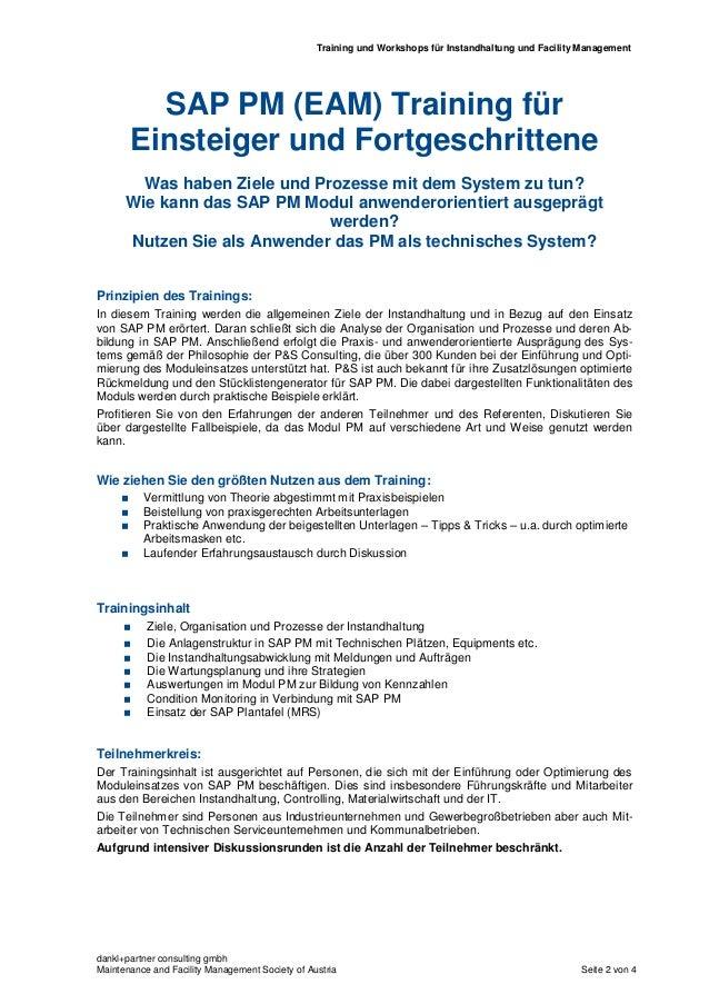 SAP PM (EAM) Training für Einsteiger und Fortgeschrittene - Training TA01-12b-A Slide 2