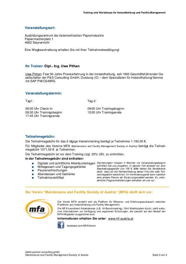 SAP PM (EAM) Training für Einsteiger und Fortgeschrittene - Training TA01-12b-A Slide 3