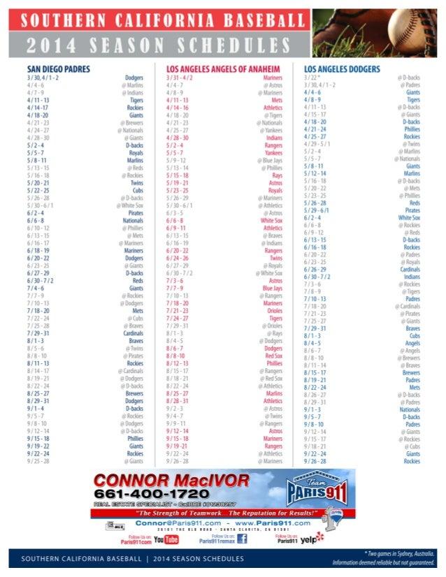 Southern California Baseball Schedules 2014