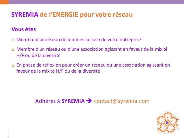 SYREMIA de l'ENERGIE pour votre réseauVous êtes   Membre d'un réseau de femmes au sein de votre entreprise   Membre d'un...