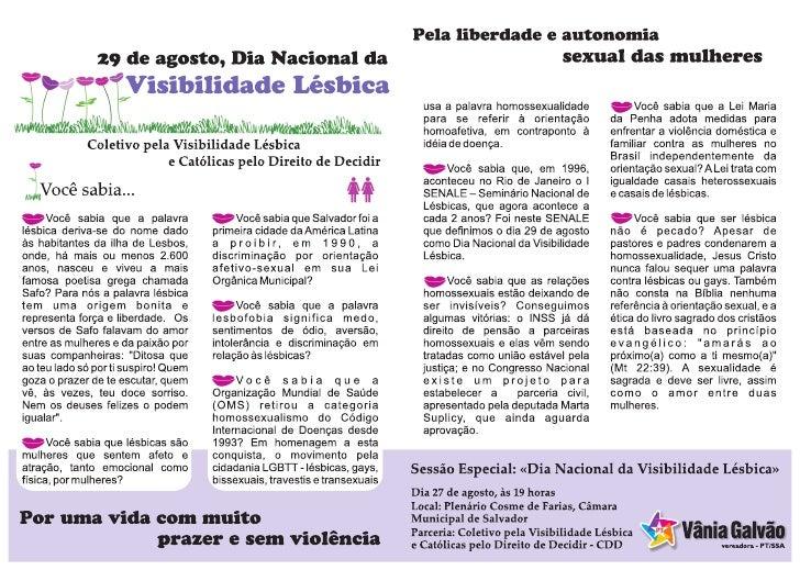 Flyer Sessão Especial Visibilidade Lésbica