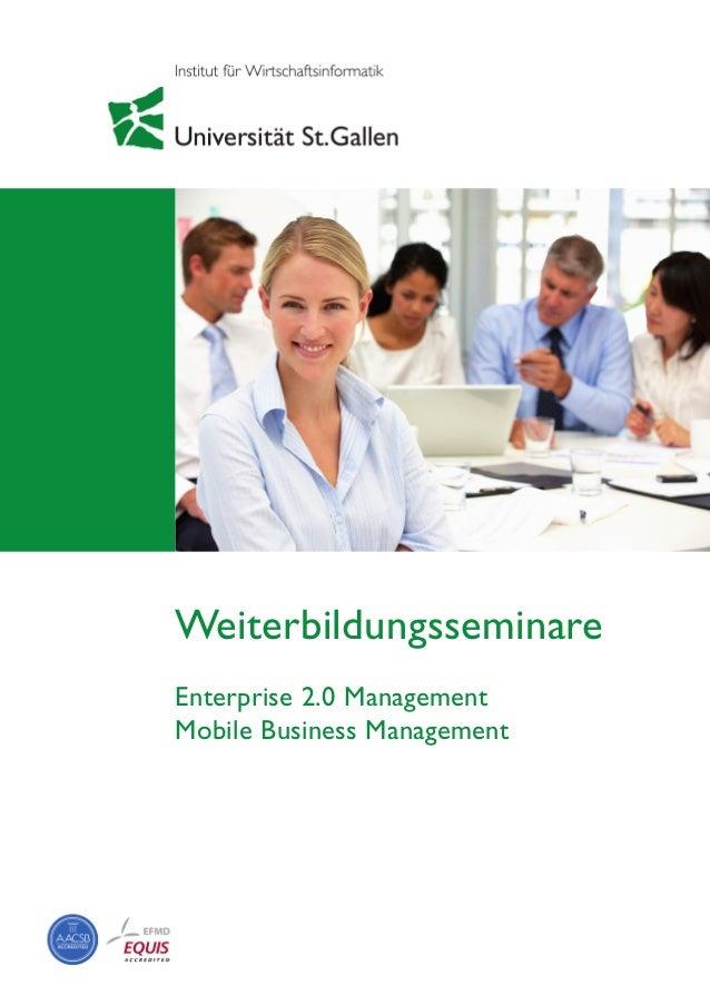 Weiterbildungsseminare Enterprise 2.0 Management Mobile Business Management