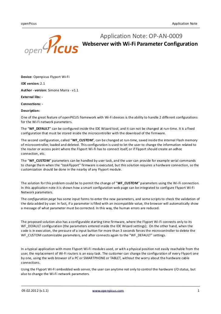 openPicus                                                                                             Application Note    ...