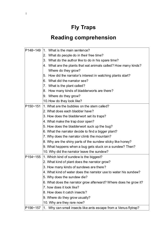 Fly traps reading comprehension questions