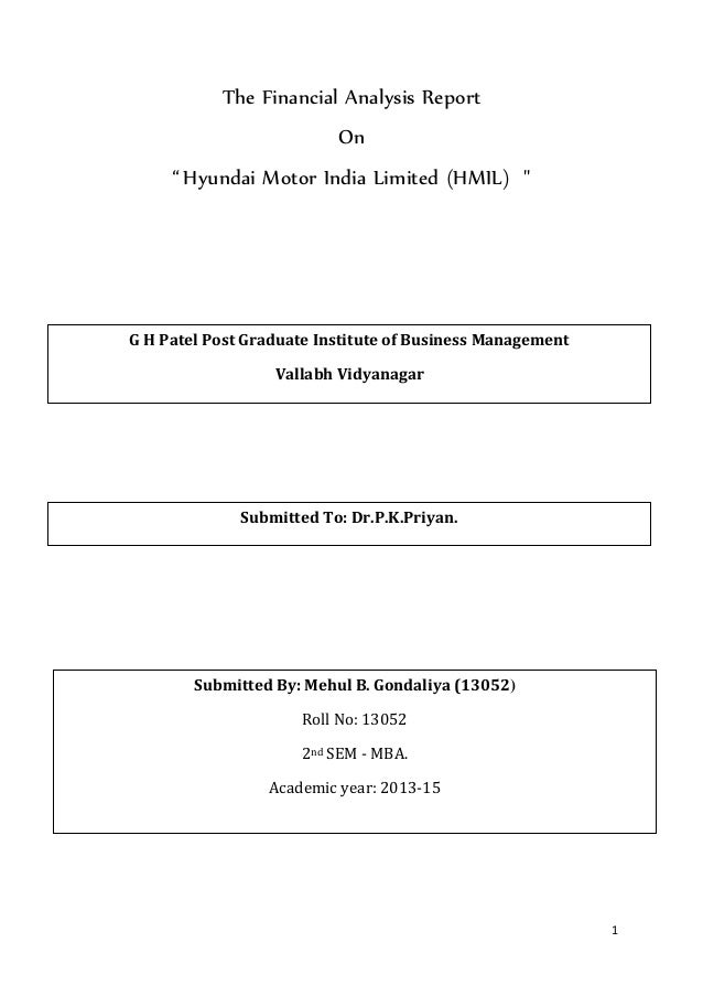 The Financial Analysis Report On Hyundai Motor India