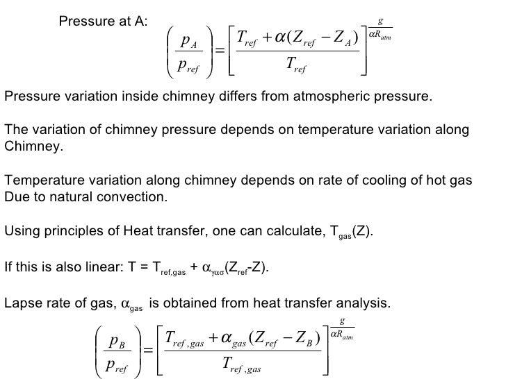 Pressure at A: Pressure variation inside chimney differs from atmospheric pressure. The variation of chimney pressure depe...